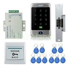 عالية الجودة diy ماء معدني 125 كيلو هرتز بطاقة rfid الباب نظام مراقبة الدخول الأمن كيت مع فشل الآمن الكهربائية سترايك قفل