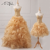 Luxury Beaded Lace Sweetheart Real Sample Quinceanera Dresses 2016 2 In 1 Detachable Ruffles Skirt Sweet