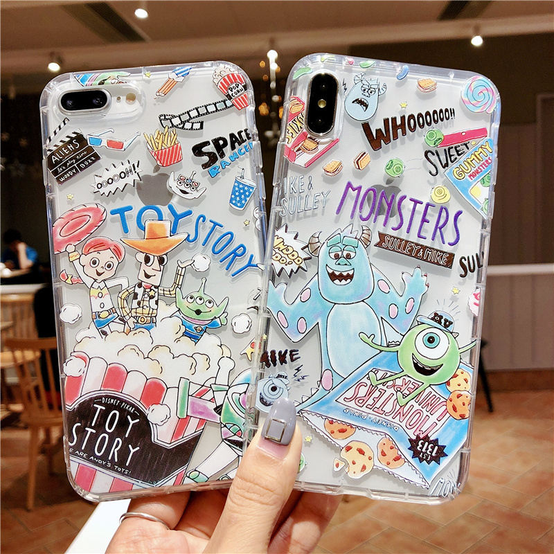 Toy Story Monsters Relief Airbag Case For Coque iPhone X Xs Max Xr Cases For iPhone