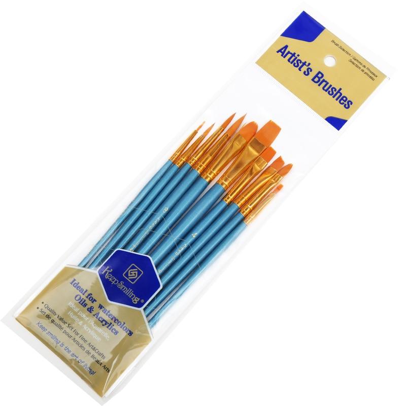 Купить с кэшбэком BGLN 10Pcs/Set Watercolor Gouache Paint Brushes Different Shape Round Pointed Tip Nylon Hair Painting Brush Set Art Supplies