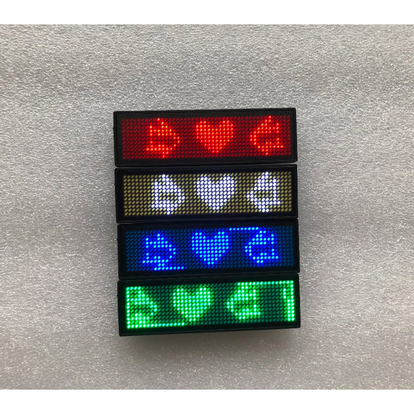 HD-NT44 White Color Scrolling Message Led Name Badge 44x11 Pixel Single Color USB Rechargeable Led Name Tag For Chest Card Label