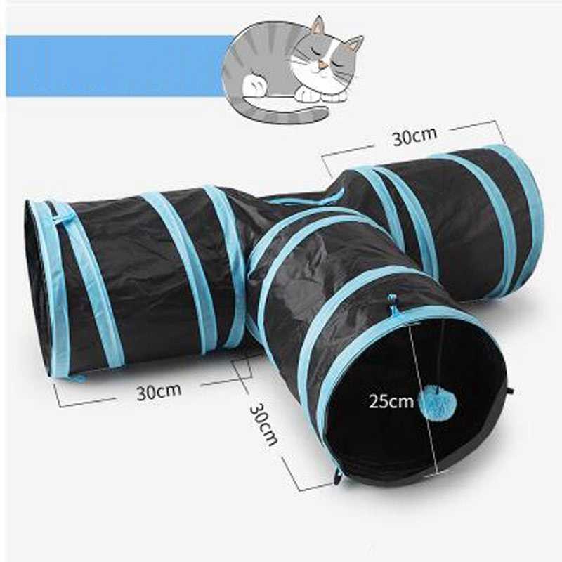 משחקים עבור מנהרת החולדה חתולים מוצרים לחיות מחמד חתולי אביזרי חתול צינור 2 חורים לשחק צינורות כדורי מתקפל להתקמט צעצועים