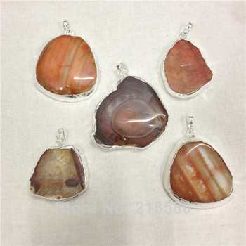H-AS16  Brown Orange  Agat Slice Pendant with Silver Layered  and Bail