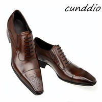 Fashion Italian Men Shoes Genuine Leather Mens Dress Shoes Sales Carved Designer Wedding Male Oxford Shoes