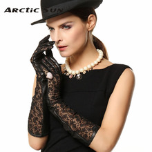 top Goatskin leather gloves women Genuine lace Dinner dress sheepskin L112