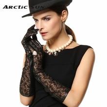 top Goatskin leather gloves women Genuine lace Dinner dress sheepskin L112