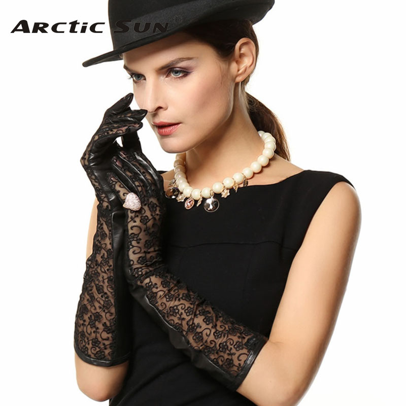 New Arrival 2020 Women Gloves 45cm Long Lace Sheepskin Glove Real Genuine Leather Fashion Elbow Solid Adult For Dressing L112N