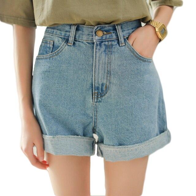 Azul marinho de cintura alta redobra shorts jeans para mulheres mais tamanho perna reta shorts jeans meninas verão casual solta calça jeans calções
