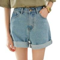 Hellblaue hohe taille jean shorts für frauen sommer rollsaum denim shorts damen mädchen chic casual lose washed shorts