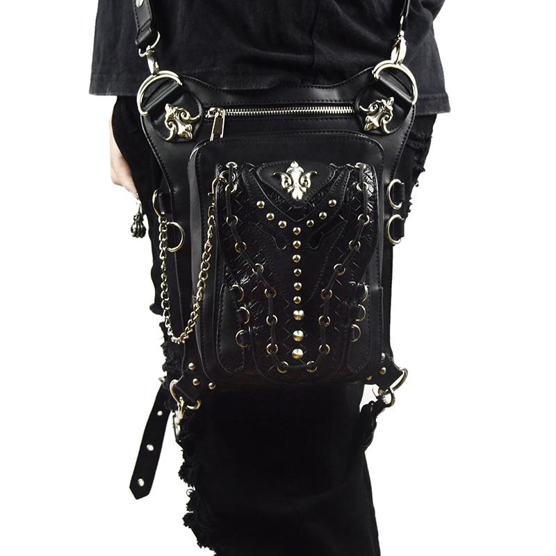 Vintage Rivets กระเป๋า Retro ขากระเป๋าผู้ชายผู้หญิง Crossbody Messenger กระเป๋า Gothic หนังสีดำ Steampunk Punk กระเป๋า-ใน กระเป๋าสะพายข้าง จาก สัมภาระและกระเป๋า บน   1
