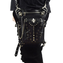 0e024be61ab Vintage Klinknagels Taille Tas Retro Been Opbergtas Mannen Vrouwen  Crossbody Messenger Bag Gothic Black Leather Steampunk Punk T..