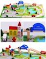 40 шт. DIY деревянный поезд трек набор игрушки Сборка Путепровода Трафика Сцена блоки игрушки для детей подарочные juguetes educativos