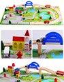 40 unids DIY juego de rieles de tren de madera juguetes De Junta Puente Escena Tráfico bloques juguetes para niños de regalo juguetes educativos