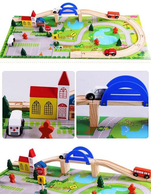 40pcs DIY wooden train track set toys Assembling Overpass Traffic Scene blocks  toys for kids gift juguetes educativos