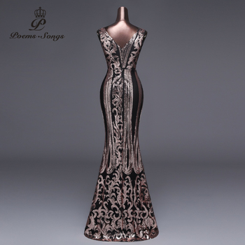 Poems Songs 2019 New Double-V Long Evening Dress vestido de festa Sexy Backless Luxury Gold Sequin formal party dress prom gowns 3