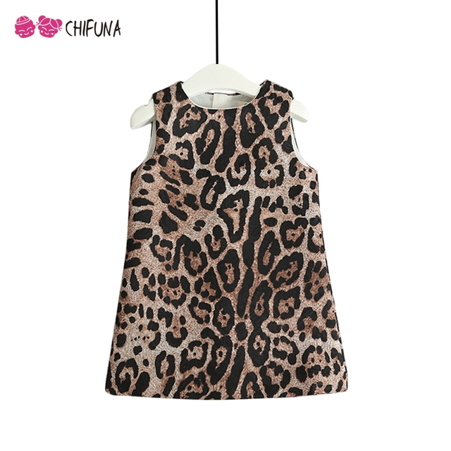 252f68b60f chifuna Baby Girls Leopard Print Dress Autumn Winter Sleeveless Dresses  Toddler Children Party Princess Kids Dresses For Girls