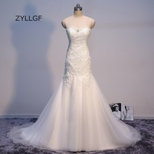 ZYLLGF Vestido De Noiva Foto Real Lace Up Back Dress