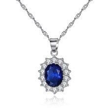 Штамп модный бренд синий красный Вильям Кейт Овальный циркон кулон ожерелье