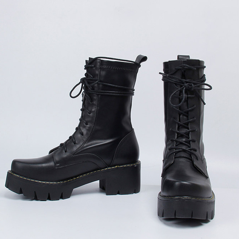 купить Hot Brand Black Color Mid-calf Boots Roman Stylish Leather Women Shoes Front Lace Up Short Booties Platform Hommes Chaussures по цене 6657.64 рублей