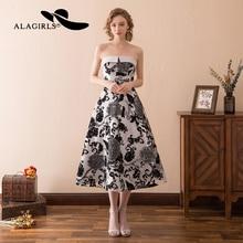 Alagirls Tea Length Homecoming Dresses 2019 Strapless Party dresses New Evening Dress Lace Gowns Vestido de bienvenida