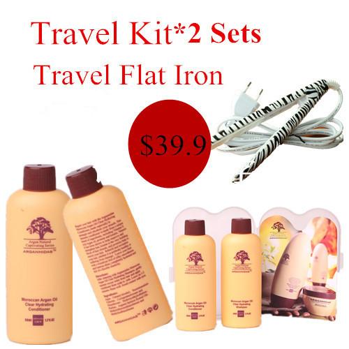 2 UNIDADES Viajes champú de aceite de argán y acondicionador y obtener un libre mini hierro plano del envío libre