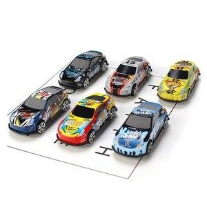 Image 2 - Conjunto de 6 unidades de Mini coche de dibujos animados, molde de juguete para coches de aleación, vehículos fundidos a presión para niños, juguetes de bolsillo, regalo para guardería