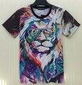 2015 nuevos animales pintura al óleo de la camiseta blazer mujeres / camiseta de la muchacha camisetas tigre fuerza atacado de roupas femininas artículo marca