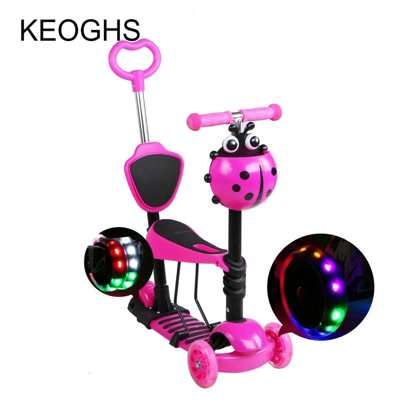 Prix pour Enfants cci scooter bébé 5in1 PU 3 roues clignotant Swing Voiture de levage 2-15 Ans Bébé Poussette Tour Vélo Véhicule En Plein Air jouets