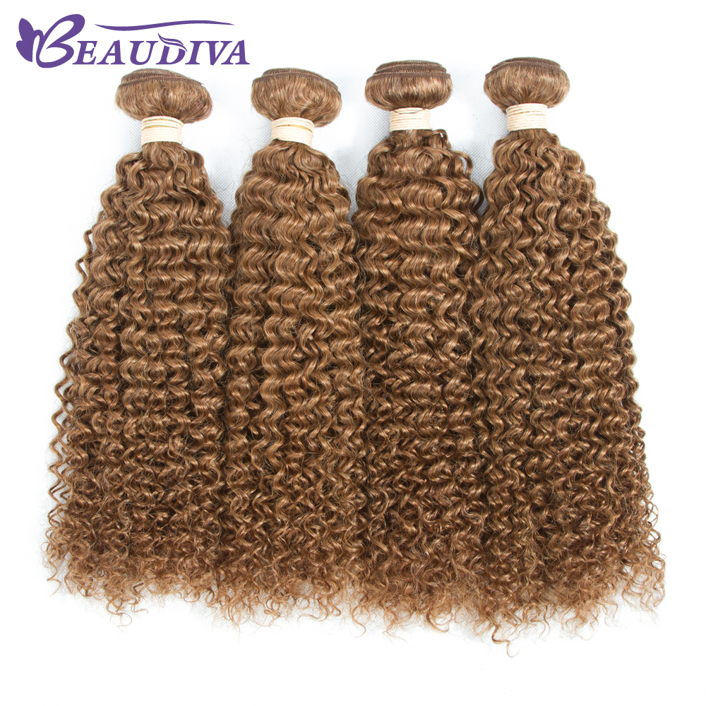 BEAU DIVA Hair Brazilian Curly Weave Human Hair Bundles 4Pcs Afro Kinky Curly Hair 30# Curly Hair Extensions