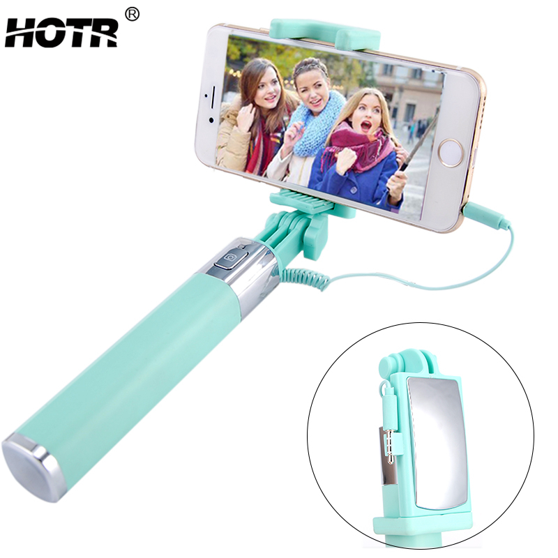 Fashion Mirror Selfie Stick Extendable Para Selfie Wired Selfie Stick Universal for iphone 5s 6 6s for Samsung S10 S9 Note 9 s8