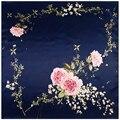 90 cm * 90 cm Nueva Moda Bufanda Cuadrada de Seda de Las Mujeres de Seda Imitado Loving Corazón Forma de La Flor de Rose Impreso Bufandas mantón Hijab