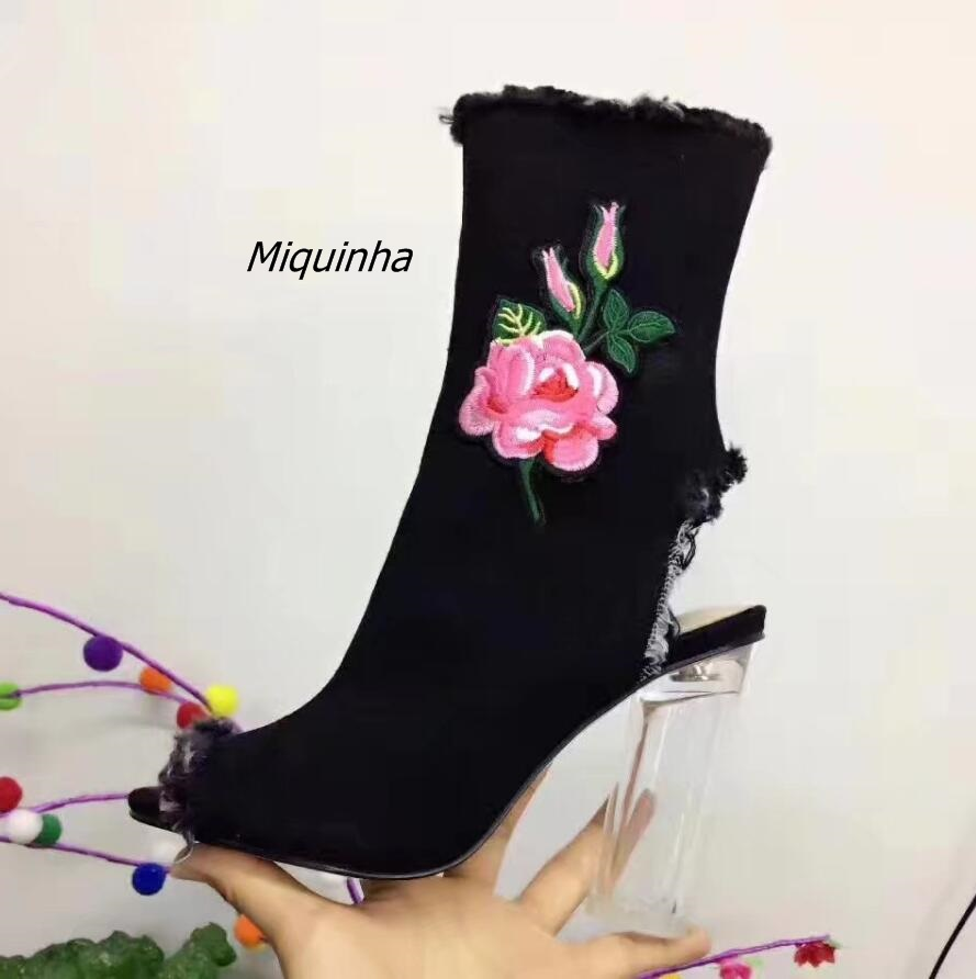 Fancy Flowers Embroidery Clear Block Heel Sandal Booties Sexy Black Canvas Slingback Transparent Heel Shoes Summer Ankle Boots