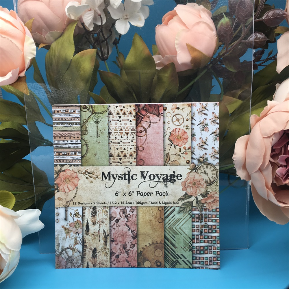 24pcs/Pack 6*6inch Mystic Voyage Patterned Paper Pack Scrapbooking DIY Planner Card Making Journal Project Letter Pad Paper