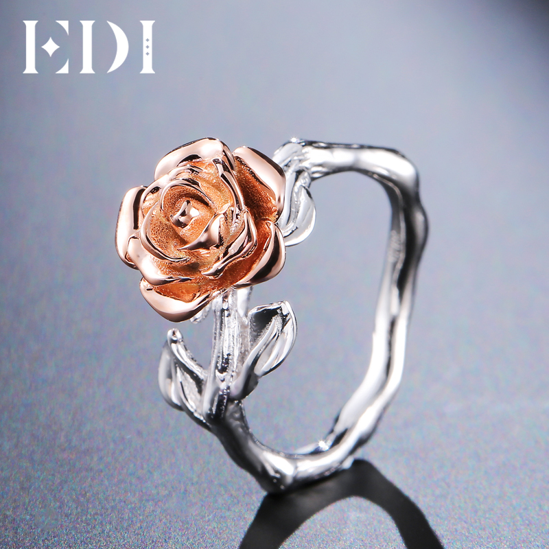 EDI Genuine 100% 925 Sterling Silver Flower Party Rings For Women Two Tone Floral Rose Fairy Tale Fine Jewelry Pure Silver Band все цены