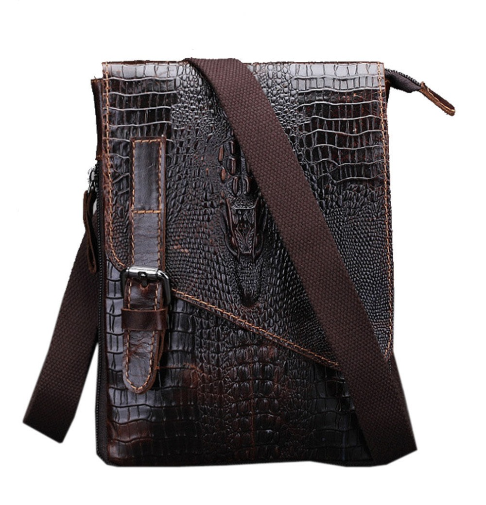 2018 New Men Genuine Leather Crocodile  Hip Belt Bum Pack Waist Hook Bag Vintage Cross Body Messenger Shoulder Bags new 2016 genuine leather crocodile alligator pattern men vintage messenger bag waist pack men s bags chest pack waist bag 3864