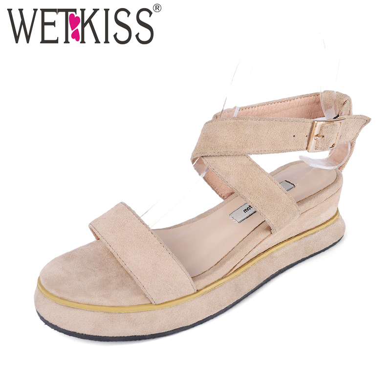 WETKISS High Heeled Women Sandals Cow Suede Wedges Open Toe Platform Footwear 2018 Summer Fashion Casual T Strap Female Shoes phyanic 2017 gladiator sandals gold silver shoes woman summer platform wedges glitters creepers casual women shoes phy3323