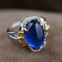 Blue corundum S925 sterling silver ring wholesale blessing in front of gold craft female trendy styles ellipse