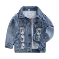 2016 Autumn Fashion Boys Hole Denim Jackets Coats Solid Patchwork Leather Turn Collar 100% Cotton Outwear Coat For Boy Outerwear