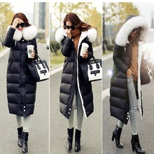 2016 winter duck down jacket women long coat parkas thickening Female Warm Clothes fur collar High Quality