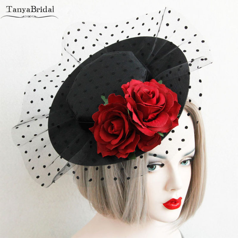 Vintage Wedding Hats Black With Red Flowers Elegant Headdress Dot Tulle Fashion Bridal Accessories Chapeaux Mariage DH017