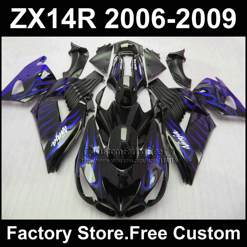 ABS Injection fairing kit for Kawasaki 2006 2007ZX 14R 2008 2009  Ninja ZX14R 06-09 blue flame black motorcycle fairings parts aftermarket free shipping motorcycle parts for motorcycle 2006 2007 2008 2009 kawasaki zx14 zx14r zx 14r axle caps covers chrome