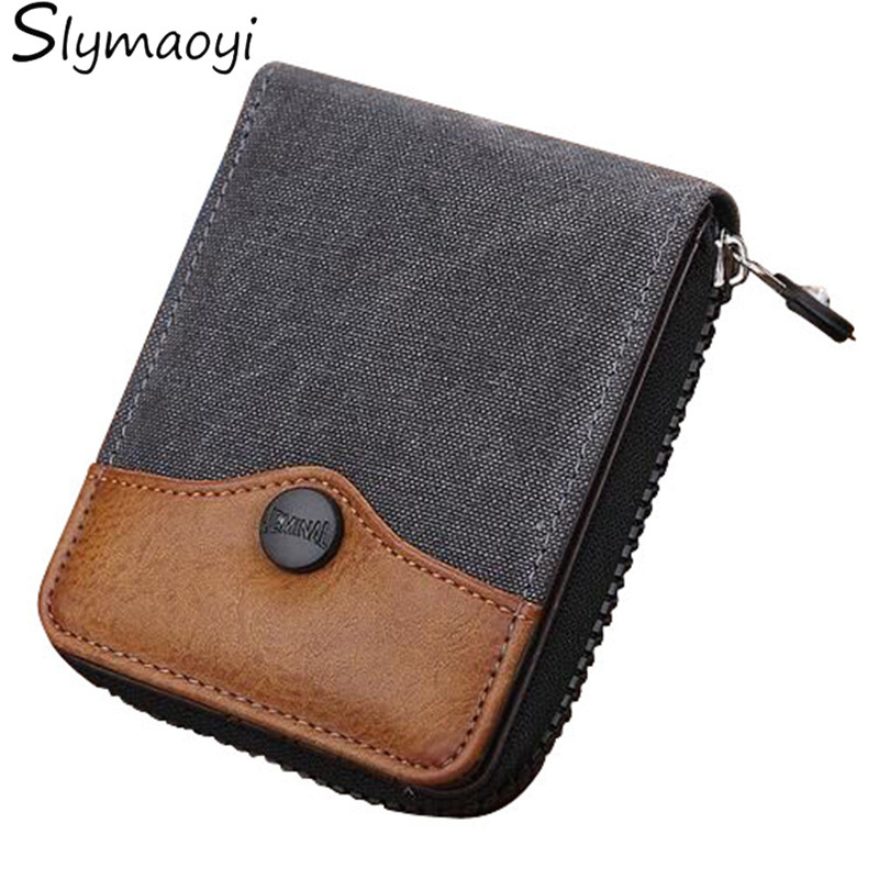 Cowboy Canvas Men Wallet Large-capacity Man Short Wallets Vintage Purses High Quality with Coin Pocket Zipper Coin Purse high quality wallet pu fashion design large capacity men purses card holder coin pocket for man