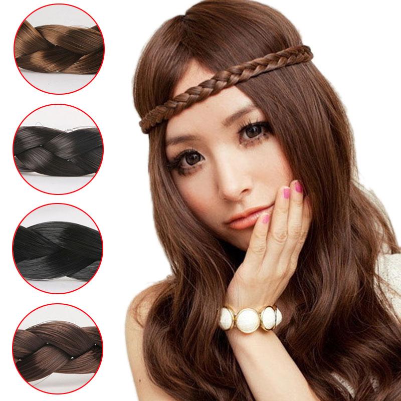 M MISM Girls Fashion Plait Headband High Quality Hair Accessories for Women Braided Elastic Hair Band Luxury Bohemian Ornaments gorgeous faux feather elastic hair band for women
