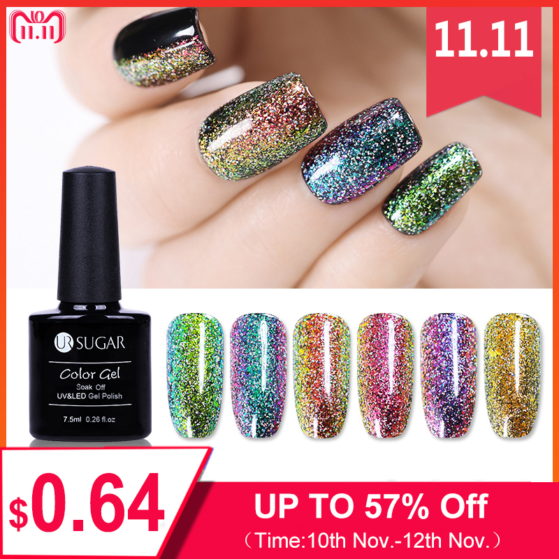 UR SUGAR 7.5ml Chameleon Holographic Gel Polish Sequins Starry Sparkle Glitter Platinum Soak Off UV Gel Polish Nail Art Lacquer