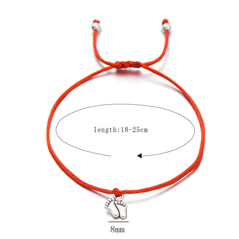 Pipitree Lovely Double Feet Family Wish Bracelet Mom Dad Baby Kids Gift Simple Red String Charm Bracelets Jewelry for Women Men