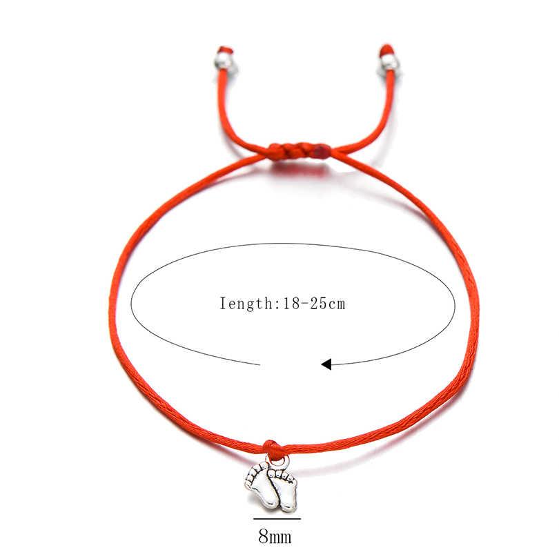 Pipitree piękne podwójne stopy rodzina życzenie bransoletka mama tata dziecko dzieci prezent prosty czerwony sznurek uroku bransoletki biżuteria dla kobiet mężczyzn
