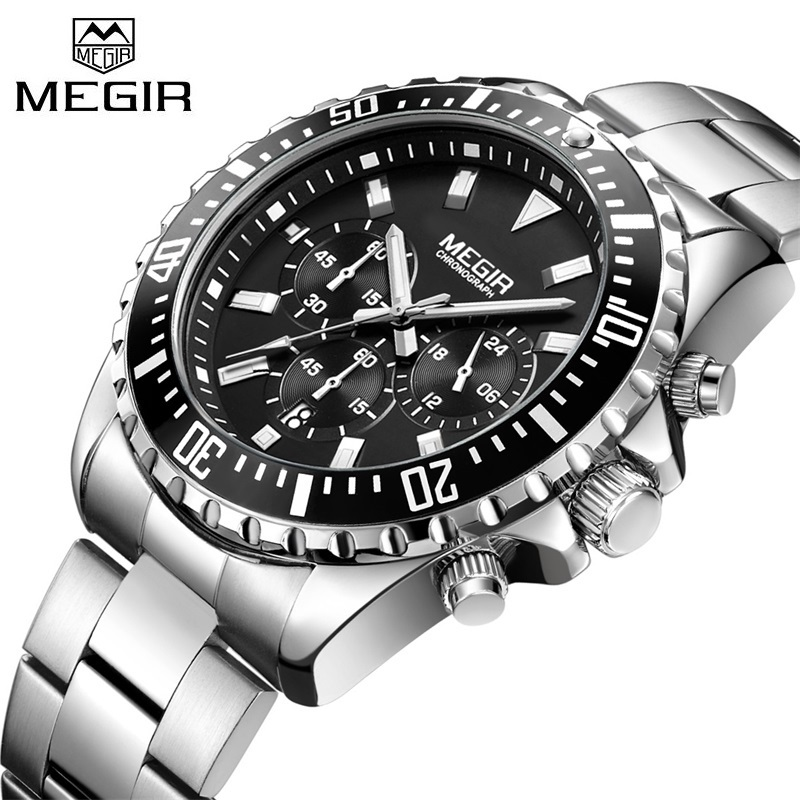 Top Luxury Brand MEGIR Watches Men Stainless Steel Quartz-watch Mens Business Watch Chronograph Clock Male Relogio Masculino automatic wristwatch men quartz stainless steel business watches gold top brand luxury male casual outdoor clock men watch 2018