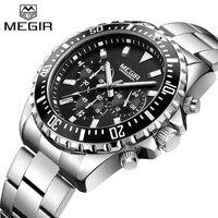 Top Luxury Brand MEGIR Watches Men Stainless Steel Quartz Watch Mens Business Watch Chronograph Clock Male