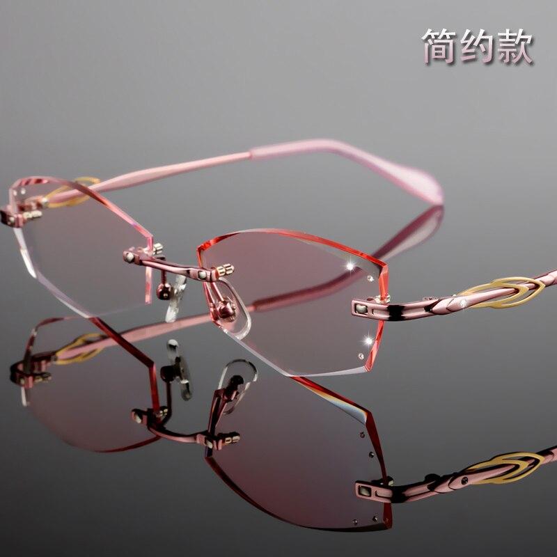Rot Myopie Rezept Kundenspezifische Diamant Yj26 Mode Weiblich Hyperopie Brille purpurrot rosa Optik Brillen Charme Randlose q7q8Xp