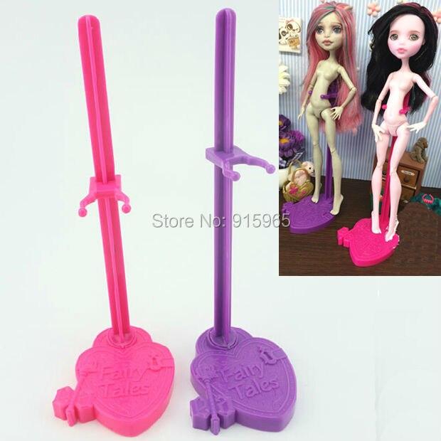 Venta al por mayor 100 unids/lote rosa púrpura azul soporte para Monster High dolls soporte exhibidor para siempre accesorios de muñeca alta